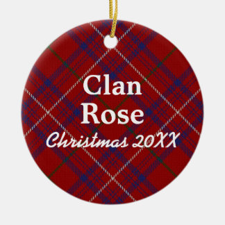 Clan Rose Scottish Modern Red Tartan Christmas Ornament