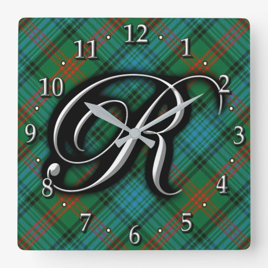 Clan Ross Letter R Monogram Blue Green Tartan
