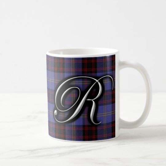 Clan Rutherford Classic Letter R Monogram Tartan Coffee