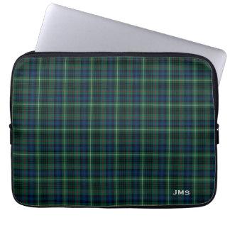 Clan Stewart Hunting Tartan Green Plaid Monogram Laptop Computer Sleeve