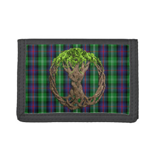 Clan Sutherland Tartan And Celtic Tree Of Life Trifold Wallets