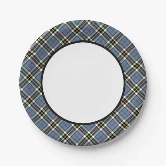 Clan Thompson Blue Dress Tartan Border 7 Inch Paper Plate