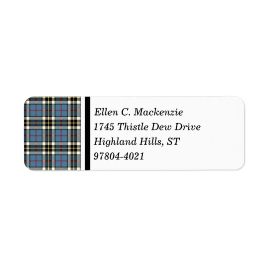 Clan Thompson Blue Dress Tartan Return Address Label