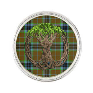 Clan Thomson Tartan And Celtic Tree Of Life Lapel Pin