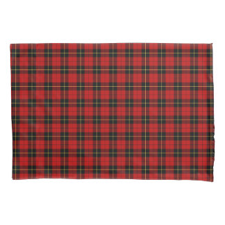 Clan Wallace Red and Black Scottish Plaid Pillowcase