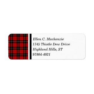 Clan Wallace Red and Black Scottish Tartan Return Address Label