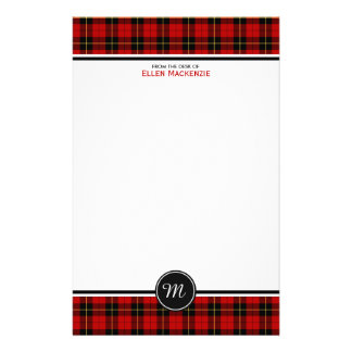 Clan Wallace Tartan Classic Red Plaid Monogram Personalised Stationery