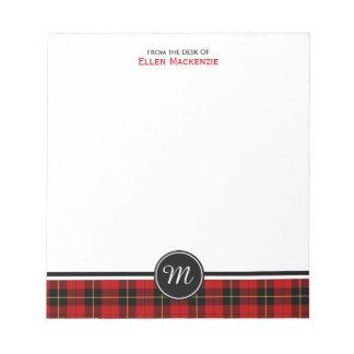 Clan Wallace Tartan Monogram Notepad
