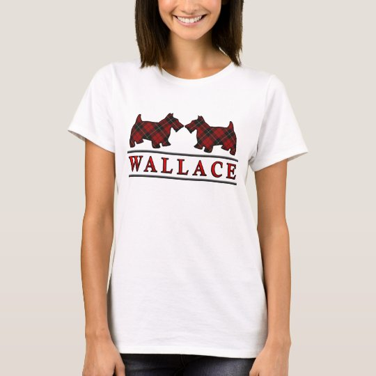Clan Wallace Tartan Scottie Dogs T-Shirt