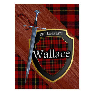 Clan Wallace Tartan Sword & Shield Postcard