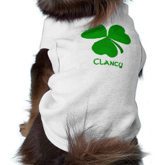 Clancy Irish Shamrock Name Sleeveless Dog Shirt
