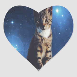 Clancy the Space Cat Heart Sticker