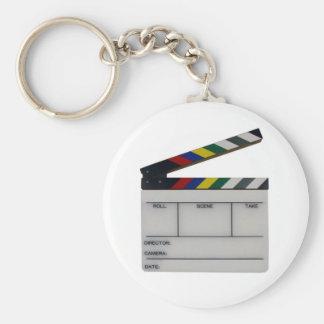 Clapboard movie filmmaker slate basic round button key ring