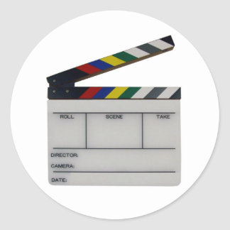 Clapboard movie filmmaker slate classic round sticker