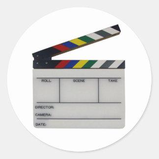 Clapboard movie filmmaker slate round sticker