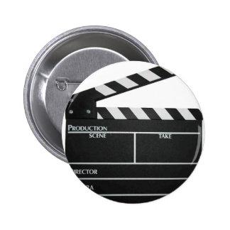 Clapboard movie slate clapper film 6 cm round badge