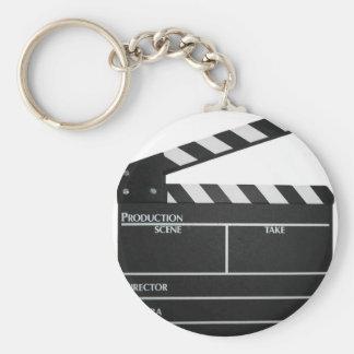 Clapboard movie slate clapper film basic round button key ring