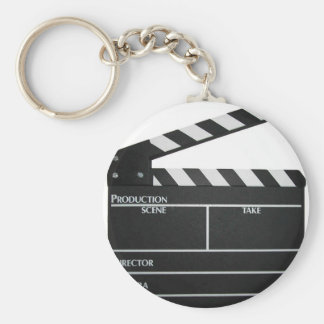 Clapboard movie slate clapper film basic round button key ring