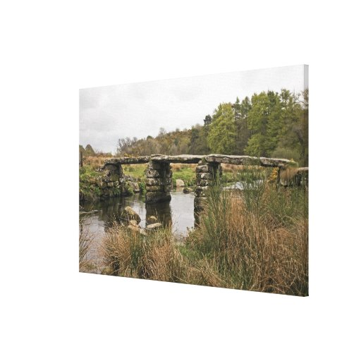 Clapper Bridge In Dartmoor National Park Stretched Canvas Print