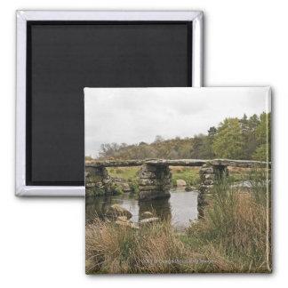 Clapper Bridge In Dartmoor National Park Square Magnet