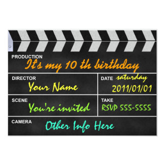clapperboard cinema 13 cm x 18 cm invitation card