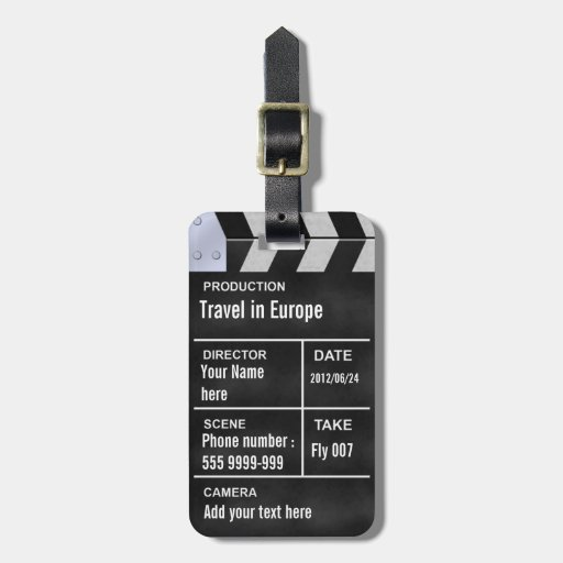 clapperboard cinema tag for bags
