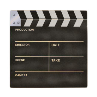 Clapperboard cinema maple wood coaster