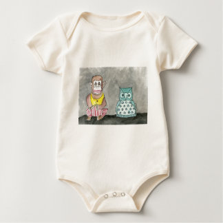 Clapping Monkey and Night Owl Baby Bodysuit