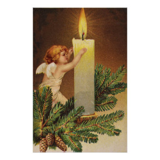 Clapsaddle: Angel on Fir Twig Poster