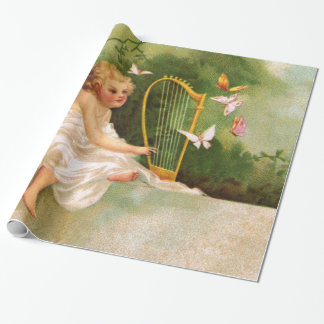 Clapsaddle: Angel Playing Harp Wrapping Paper