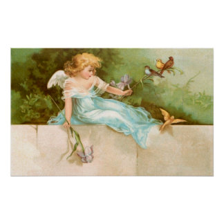 Clapsaddle: Angel Playing with Birds Poster