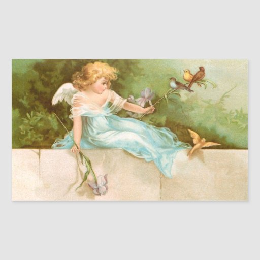 Clapsaddle: Angel Playing with Birds Rectangular Stickers