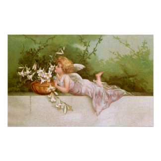 Clapsaddle: Angel with Lilies Poster