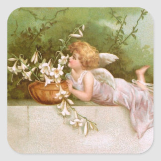 Clapsaddle: Angel with Lilies Square Sticker