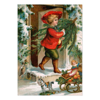 Clapsaddle Boy with Fir Tree Business Cards