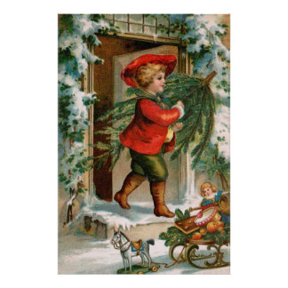 Clapsaddle: Boy with Fir Tree Poster