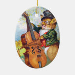 Clapsaddle: Bunny with Cello Double-Sided Oval Ceramic Christmas Ornament