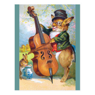 Clapsaddle: Bunny with Cello Postcard