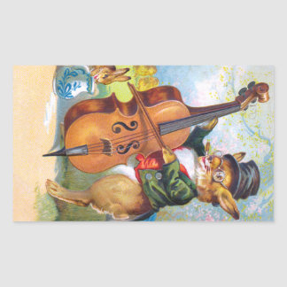 Clapsaddle: Bunny with Cello Rectangular Sticker