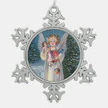 Clapsaddle: Charming Christkind Snowflake Pewter Christmas Ornament