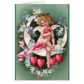 Clapsaddle: Cherub on a Sickle Moon 1 Greeting Card