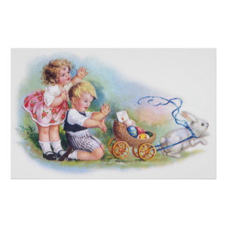 Clapsaddle: Children Playing with Bunny Poster