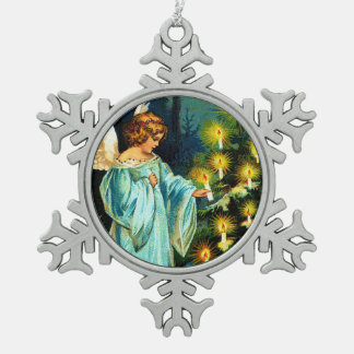 Clapsaddle: Christmas Angel Lightening up the Tree Snowflake Pewter Christmas Ornament