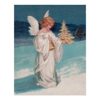 Clapsaddle Christmas Angel with Bell Poster