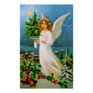Clapsaddle: Christmas Angel with Fir Tree Poster