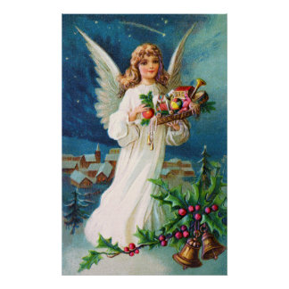 Clapsaddle Christmas Angel with Toys Posters