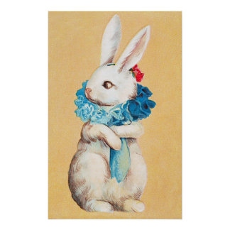 Clapsaddle Easter Bunny Girl with Ruff Posters
