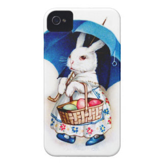 Clapsaddle: Easter Bunny Girl with Umbrella iPhone 4 Case-Mate Cases