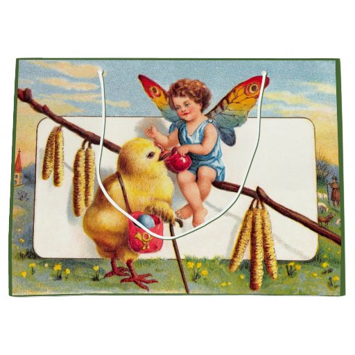 Clapsaddle: Easter Fairy with Chicken Large Gift Bag