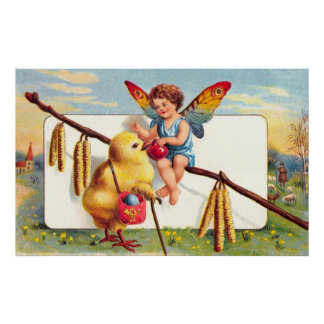 Clapsaddle: Easter Fairy with Chicken Poster